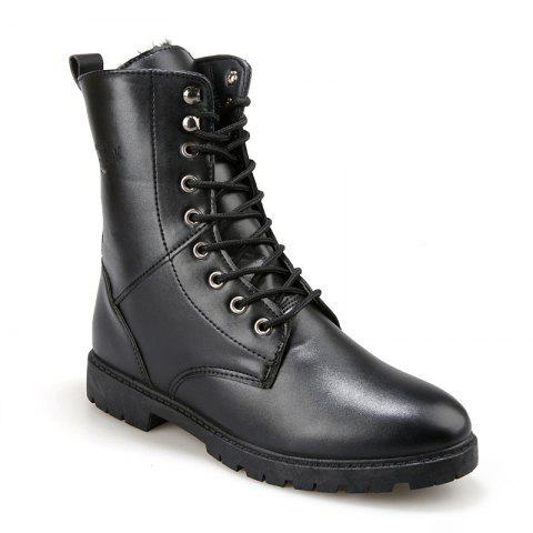 Men Casual Trend for Fashion Warm Winter Leather Suede Ankle Boots - BLACK 40