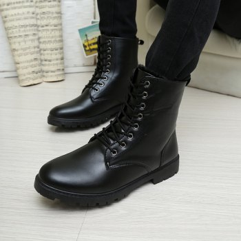 Men Casual Trend for Fashion Warm Winter Lace Up Leather Suede Ankle Boots - BLACK 40