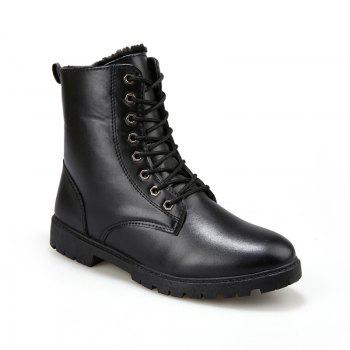 Men Casual Trend for Fashion Warm Winter Lace Up Leather Suede Ankle Boots - BLACK BLACK