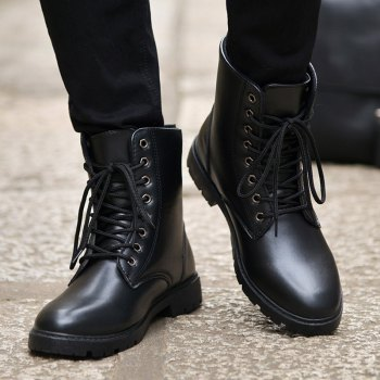 Men Casual Trend for Fashion Warm Winter Lace Up Leather Ankle Boots - BLACK 40