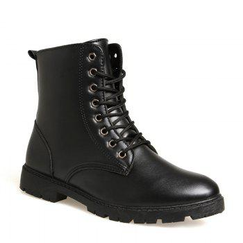 Men Casual Trend for Fashion Warm Winter Lace Up Leather Ankle Boots - BLACK BLACK