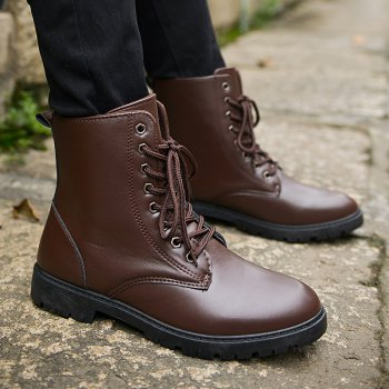 Men Casual Trend for Fashion Warm Winter Lace Up Leather Ankle Boots - BROWN BROWN