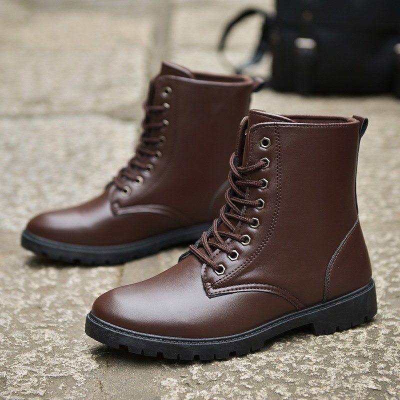 Men Casual Trend for Fashion Warm Winter Lace Up Leather Ankle Boots - BROWN 40
