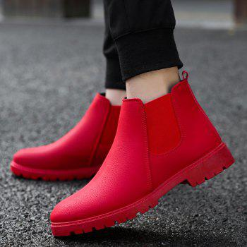 Men Casual Trend for Fashion Warm Winter Slip on Leather Ankle Boots - RED RED