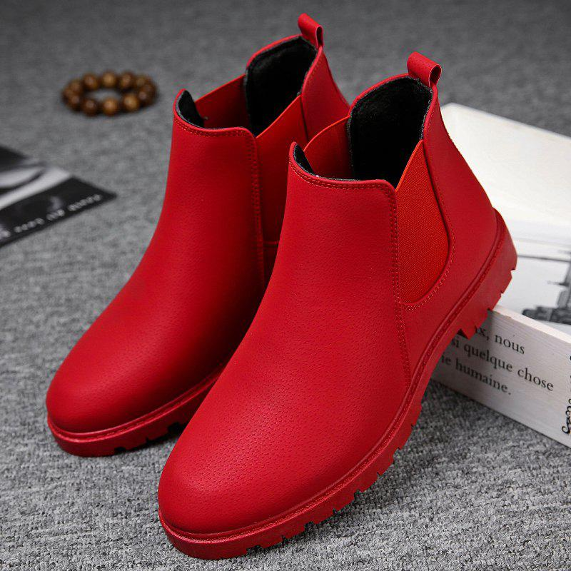 Men Casual Trend for Fashion Warm Winter Slip on Leather Ankle Boots - RED 40