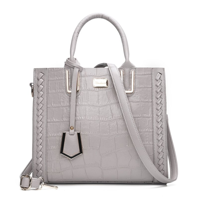 The bill of lading shoulder bag fashion crocodile grain retro handbags - GRAY VERTICAL