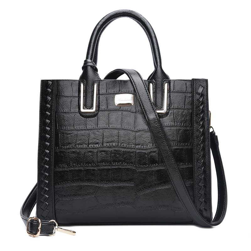 The bill of lading shoulder bag fashion crocodile grain retro handbags - BLACK VERTICAL