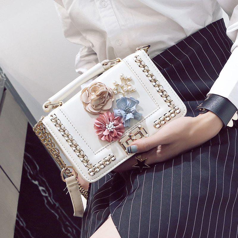 Woven Flowers Fashion Mobile Chain Bag - WHITE