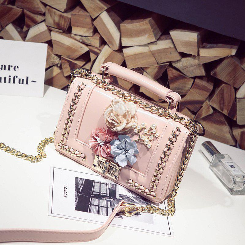 Woven Flowers Fashion Mobile Chain Bag - PINK