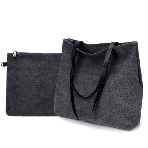 Two-Piece Fashionable Canvas Lash Package Bags - GRAY