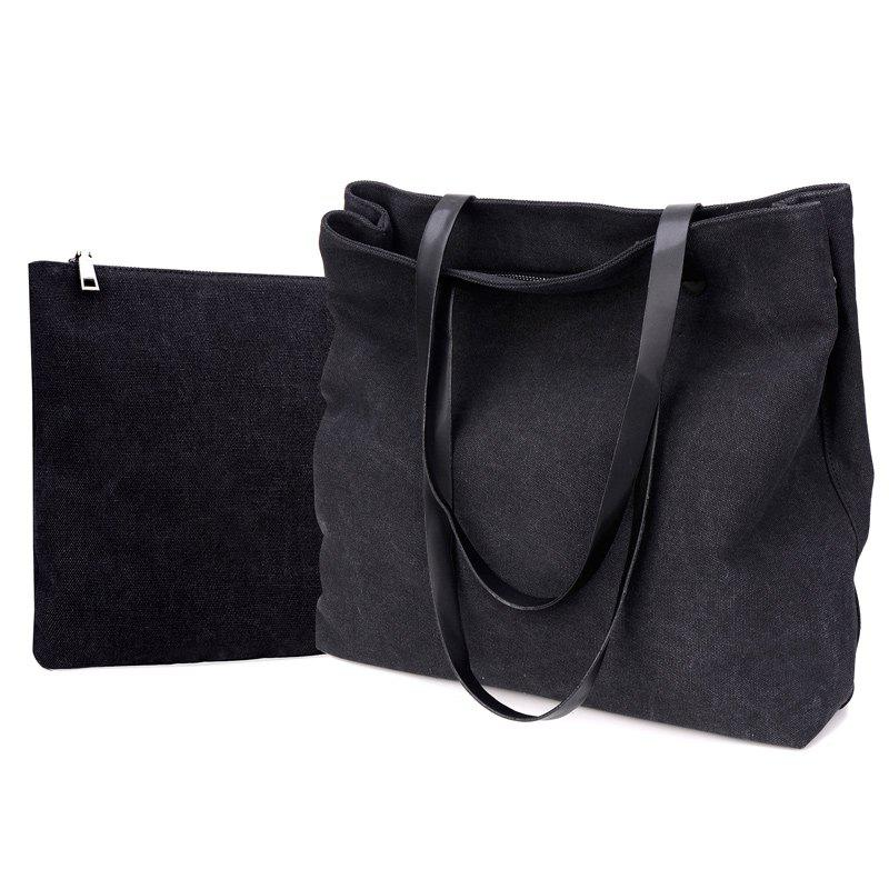 Two-Piece Fashionable Canvas Lash Package Bags - BLACK