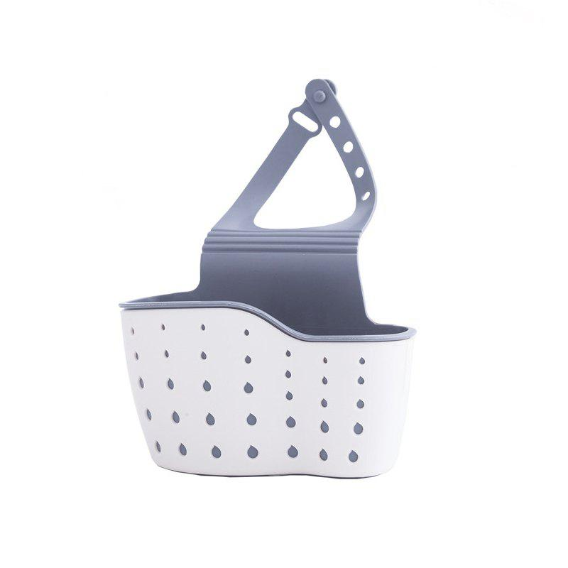 Kitchen Utensils Hang Bag Double Sink Drop Shelf Sponge Pool Storage Box Frame Hanging Basket Drop - BEIGE 13CMX0.5CMX22CM