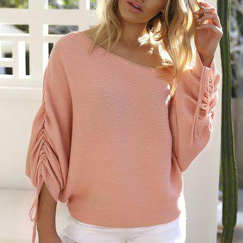 Off Shoulder Casual Sweater - PINK L