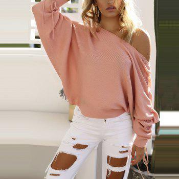 Off Shoulder Casual Sweater - PINK M