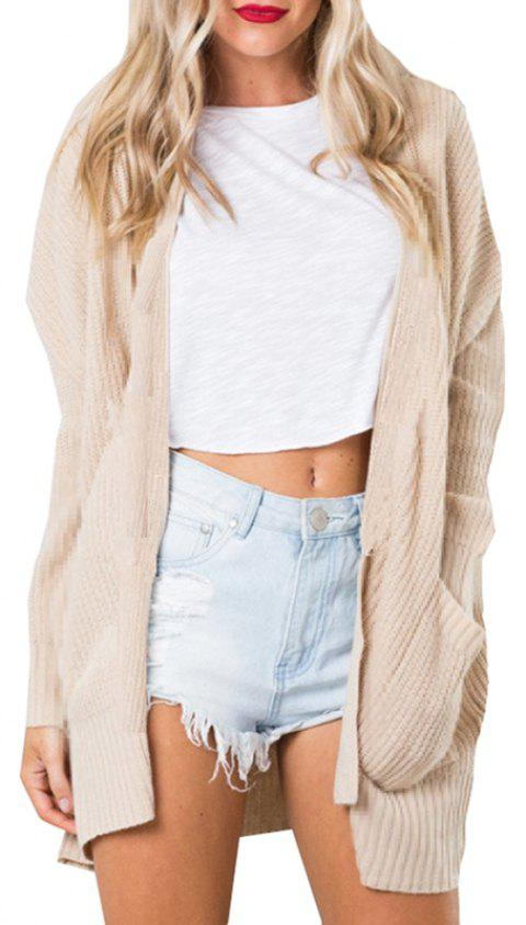 Open Cardigan With Pocket Knit - APRICOT S