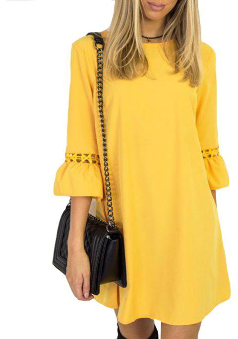 Candy Color Patchwork Lace Mini Dress - YELLOW L