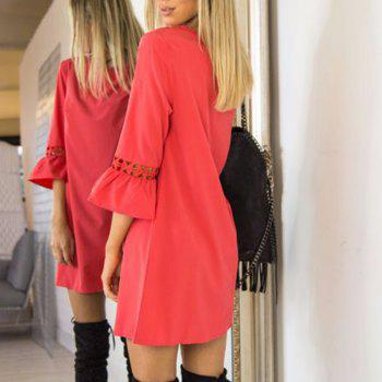 Candy Color Patchwork Lace Mini Dress - RED S