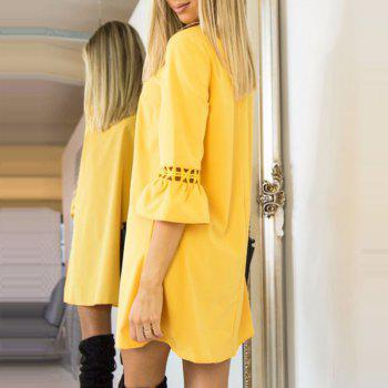 Candy Color Patchwork Lace Mini Dress - YELLOW XL