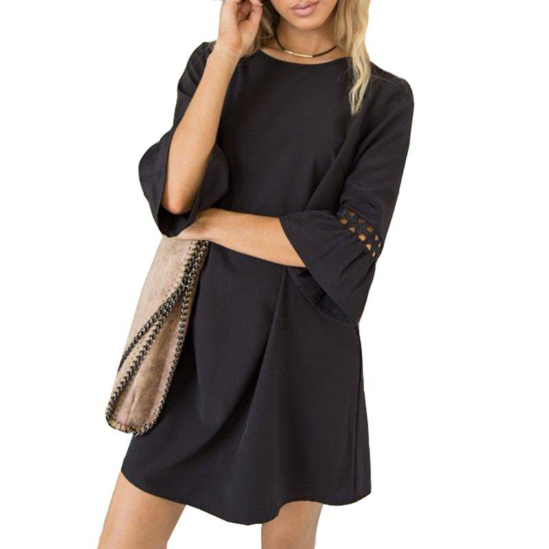 Candy Color Patchwork Lace Mini Dress - BLACK M