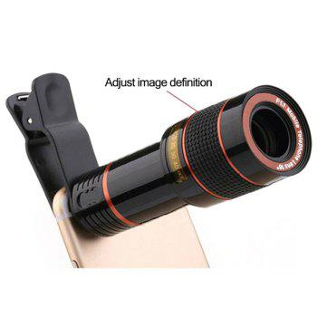 Clip 8X Zoom Mobile Phone Telescope Lens Telephoto External Smartphone Camera Lens for IPhone for Sumsung  Huawei - BLACK
