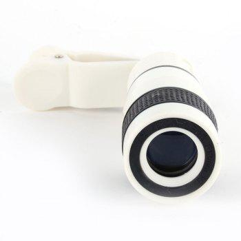 Clip 8X Zoom Mobile Phone Telescope Lens Telephoto External Smartphone Camera Lens for IPhone for Sumsung  Huawei - WHITE