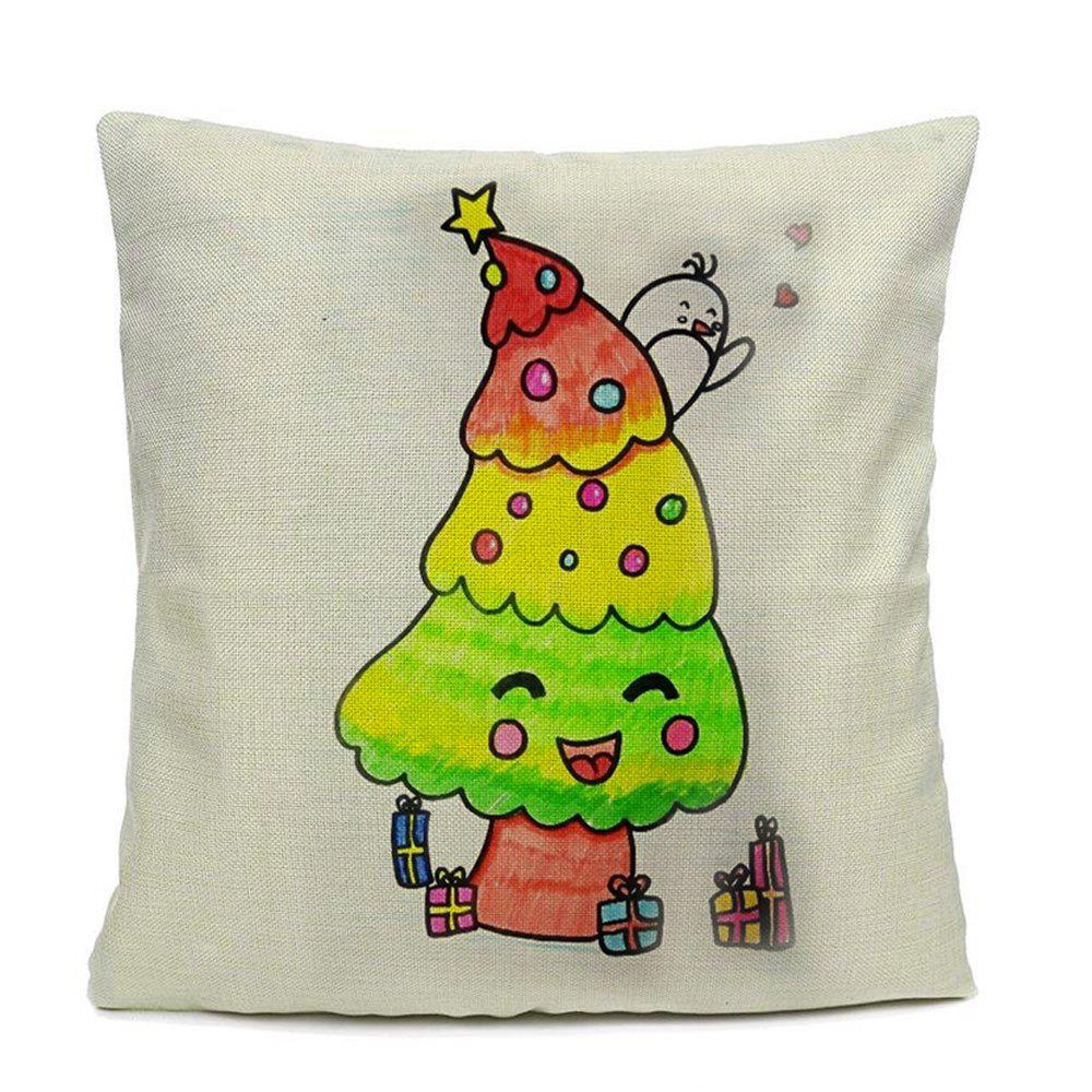 Home Decor Pillow Case Cartoon Treehouse Bird Pillow Cover - WHITE 16INCHX16INCH