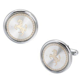 Round White Carbon Fiber French Horse Cufflinks Long Sleeved Shirt Nail -  WHITE