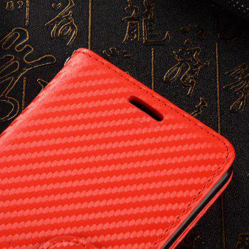 Carbon Fiber Pattern Flip PU Leather Wallet Case for Huawei Mate 10 Pro - RED