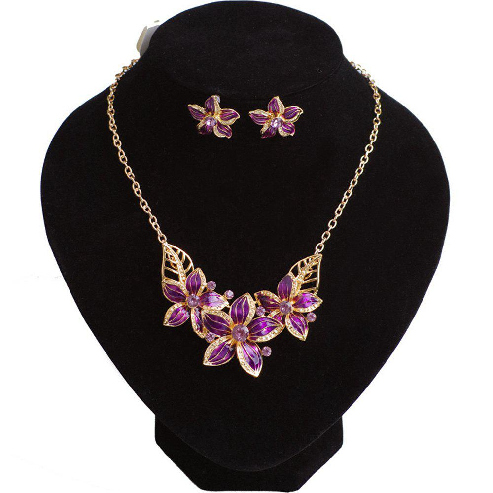 Women Girls Diamond Flower Pendant Necklace with Earrings Jewelry Set Birthday Gifts clip on earrings with mandala flower pattern round pendant