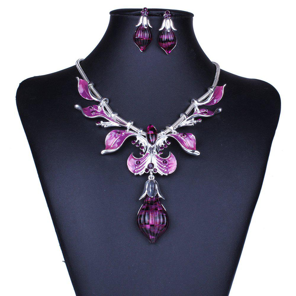 Women Girls Diamond Leaves Water Drop Pendant Necklace with Earrings Jewelry Set Gifts artificial crystal water drop pendant necklace with earrings