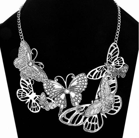 Women Girls Diamond Butterfly Pendants Choker Metal Necklace Fashion Jewelry Valentine'S Day Gifts - SILVER