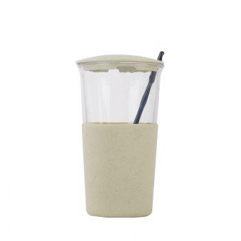 Wheat Straw Glass Home Office Coffee or Water Cup With Cover - GREEN