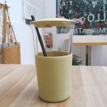 Wheat Straw Glass Home Office Coffee or Water Cup With Cover - GREEN GREEN