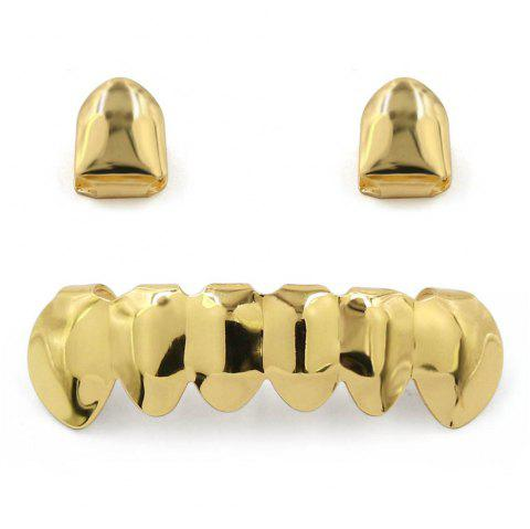 Hip Hop 18K Gold Plated Teeth Grillz - GOLDEN