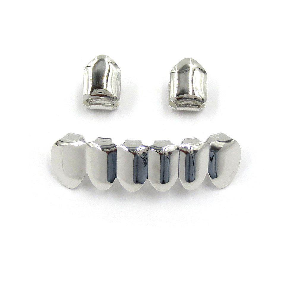 Hip Hop 18K Gold Plated Teeth Grillz - SILVER