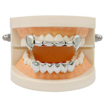 Hip Hop 18K Gold Color Vampire Fangs Teeth Grillz - SILVER