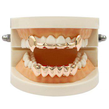 Hip Hop 18K Gold Color Vampire Fangs Teeth Grillz - ROSE GOLD
