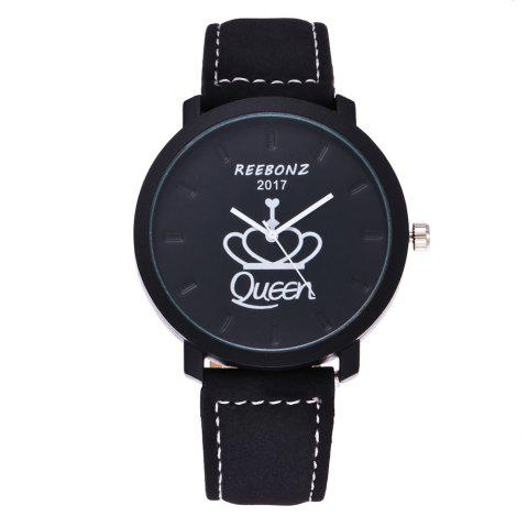REEBONZ Fashion Leisure Personality KING QUEEN Male and Female Students Quartz Watch - WHITE