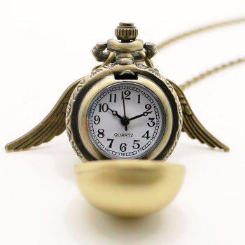 REEBONZ Steampunk Vintage Spherical Wings Quartz Pocket Watch Necklace Pendant1 - BRONZE-COLORED BRONZE COLORED