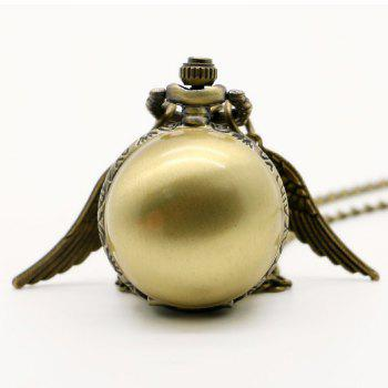 REEBONZ Steampunk Vintage Spherical Wings Quartz Pocket Watch Necklace Pendant1 -  BRONZE COLORED
