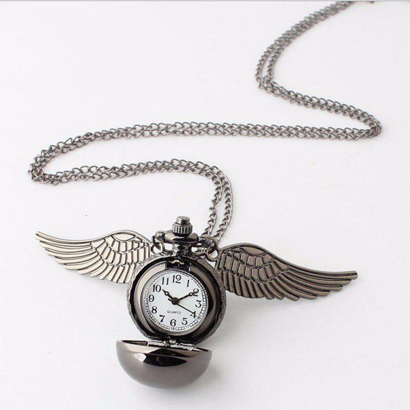 REEBONZ Steampunk Vintage Spherical Wings Quartz Pocket Watch Necklace Pendant1 - GUN BLACK
