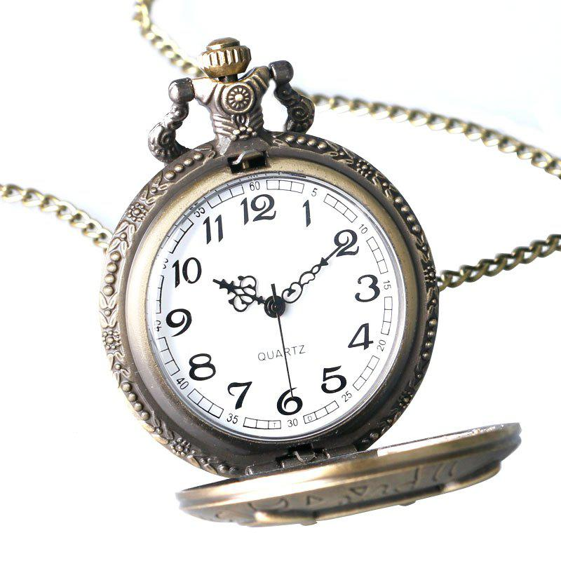 REEBONZ Steampunk Vintage Owl clamshell Quartz Pocket Watch Necklace Pendant - COPPER COLOR
