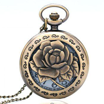 REEBONZ Vintage Hollow  Love Rose Quartz Pocket Watch Necklace Pendant - COPPER COLOR COPPER COLOR