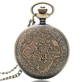 REEBONZ Vintage Hollow  Love Rose Quartz Pocket Watch Necklace Pendant - COPPER COLOR
