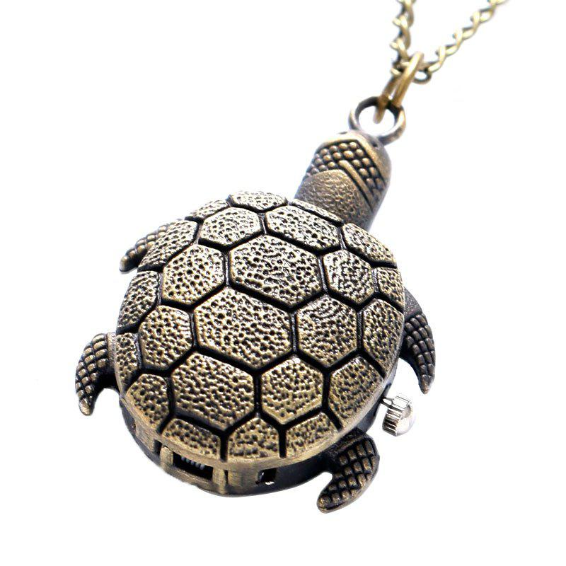 REEBONZ Steampunk Vintage Turtle Clamshell Quartz Pocket Watch Necklace Pendant - COPPER COLOR