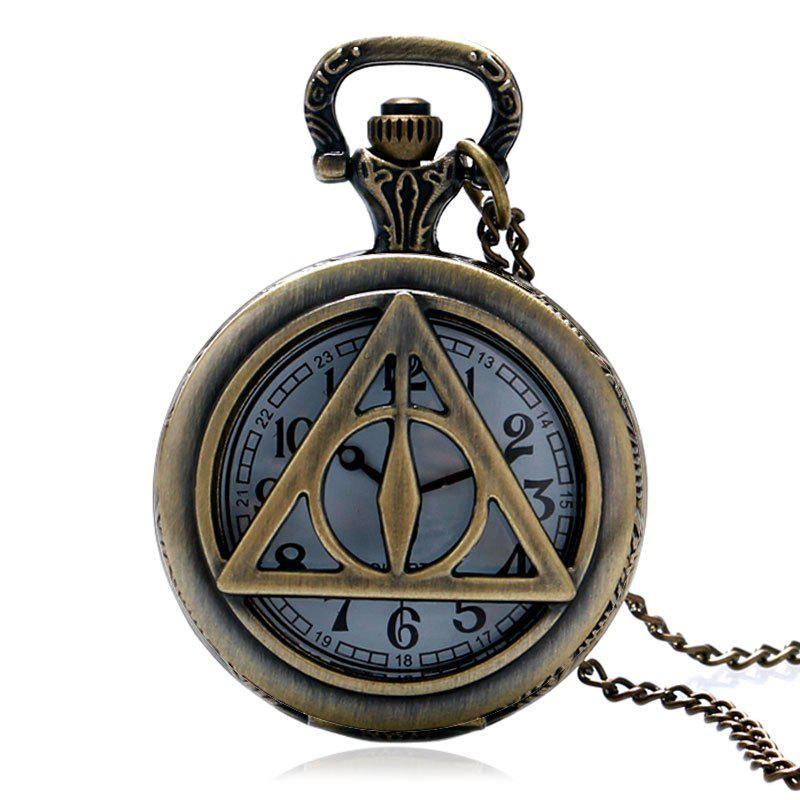 REEBONZ Vintage Hollow Triangle Quartz Pocket Watch Necklace Pendant - COPPER COLOR