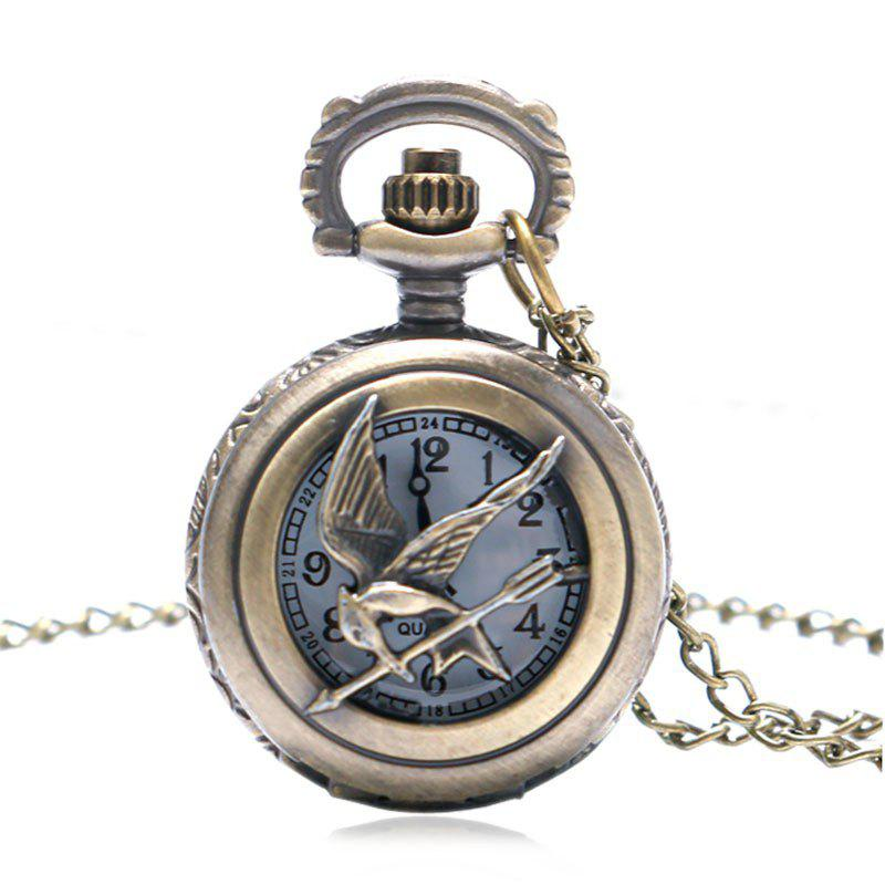REEBONZ Steampunk Vintage Hollow Quartz Pocket Watch Necklace Pendant - COPPER COLOR