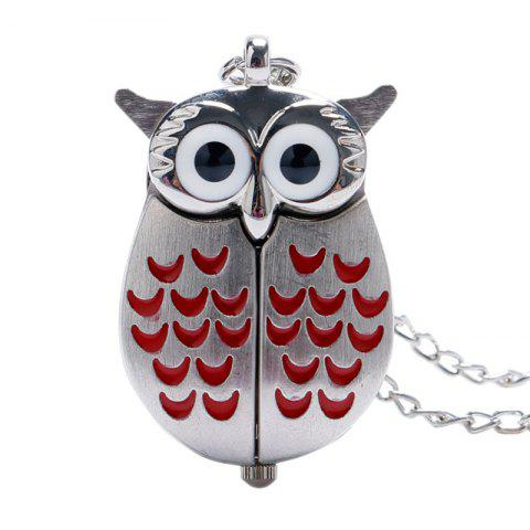 REEBONZ Steampunk Vintage Red Owl Quartz Pocket Watch Necklace Pendant - SILVER