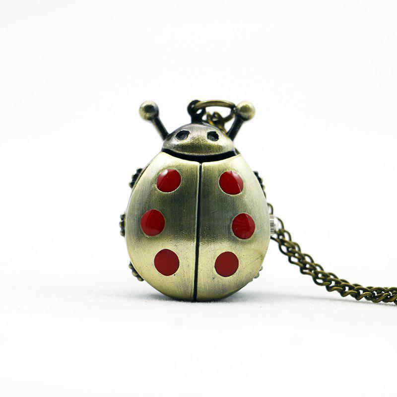 REEBONZ Steampunk Vintage Ladybug Quartz Pocket Watch Necklace Pendant21 - RED