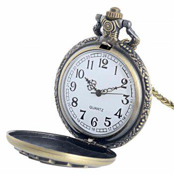 REEBONZ Steampunk Vintage Playing Cards Hollow Quartz Pocket Watch Necklace Pendant23 - COPPER COLOR